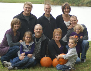 The Reichs. Front: Emily, Kayla, JR, Cathy, Cameron. Back: Michael (Emily's boyfriend), Stephen, Suzanne, Matt, and Luci.